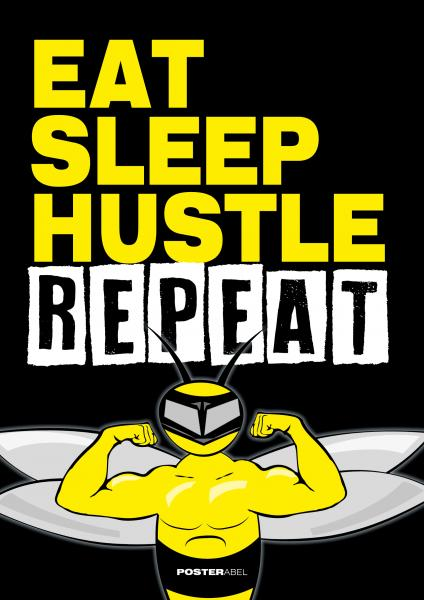 Eat Sleep Hustle Repeat - Poster DIN A1 Format